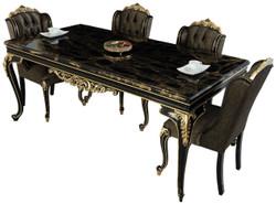 Casa Padrino Luxus Barock Esszimmer Set Schwarz / Gold - 1 Esszimmertisch & 6 Esszimmerstühle - Edle Barock Esszimmer Möbel - Edel & Prunkvoll