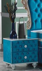 Casa Padrino baroque bedside table with rhinestones and 2 drawers turquoise / white / silver 50 x 50 x H. 50 cm - Side table in baroque style - Baroque Bedroom Furniture