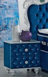 Casa Padrino baroque bedside table with rhinestones and 2 drawers royal blue / white / silver 50 x 50 x H. 50 cm - Side table in baroque style - Baroque Bedroom Furniture