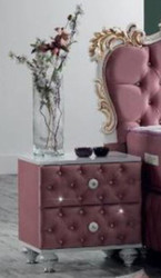 Casa Padrino baroque bedside table with rhinestones and 2 drawers pink / white / silver 50 x 50 x H. 50 cm - Side table in baroque style - Baroque Bedroom Furniture