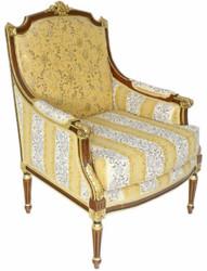 Casa Padrino Barock Lounge Thron Sessel mit elegantem Muster Gold / Weiß / Braun 70 x 70 x H. 100 cm - Barock Möbel