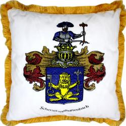 Casa Padrino Luxus Deko Kissen Wappen Freiherr Schertel von Burtenbach Weiß / Gold