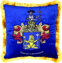 Casa Padrino Luxus Deko Kissen Wappen Freiherr Schertel von Burtenbach Royalblau / Gold