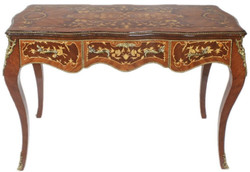 Casa Padrino baroque desk brown / brass 140 x 60 x H. 80 cm - Handcrafted solid wood office table with 3 drawers and solid metal applications - Baroque Office Furniture