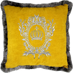 Harald Glööckler luxury decorative pillow Pompöös by Casa Padrino yellow / silver - finest velvet fabric - Glööckler pillow