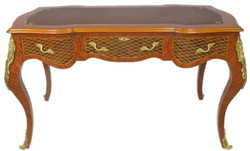Casa Padrino baroque desk brown / brass 160 x 70 x H. 80 cm - Handcrafted solid wood office table with 3 drawers and solid metal applications - Baroque Office Furniture