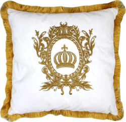 Harald Glööckler luxury decorative pillow Pompöös by Casa Padrino white / gold - Glööckler pillow