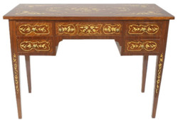 Casa Padrino baroque desk brown / gold 120 x 60 x H. 80 cm - Handcrafted solid wood office table with 5 drawers - Office Furniture in Baroque Style