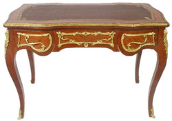 Casa Padrino baroque desk brown / gold 120 x 80 x H. 105 cm - Handcrafted solid wood office table with 3 drawers - Office Furniture in Baroque Style