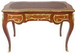 Casa Padrino Barock Schreibtisch Braun / Gold 120 x 80 x H. 105 cm - Handgefertigter Massivholz Bürotisch mit 3 Schubladen - Büro Möbel im Barockstil
