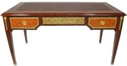 Casa Padrino Barock Schreibtisch Braun / Gold 180 x 70 x H. 80 cm - Handgefertigter Massivholz Bürotisch mit 3 Schubladen - Büro Möbel im Barockstil