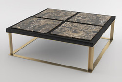 Casa Padrino luxury coffee table black / brown / brass 123 x 123 x H. 40 cm - Modern square living room table with 4 marble slabs - Luxury living room furniture
