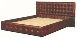 Casa Padrino luxury real leather bed wine red 180 x 200 cm - Chesterfield furniture