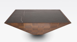 Casa Padrino luxury coffee table brown / black 100 x 100 x H. 35 cm - Modern square solid wood living room table with marble slab - Living room furniture