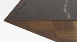 Casa Padrino luxury coffee table brown / black 100 x 100 x H. 35 cm - Modern square solid wood living room table with marble slab - Living room furniture 2
