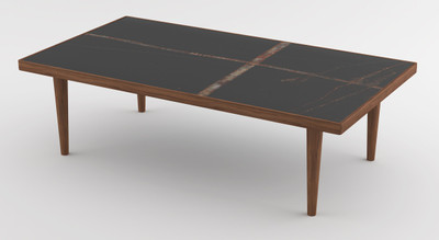 Casa Padrino luxury coffee table brown / black 130 x 70 x H. 45 cm - Modern rectangular solid wood living room table with marble top - Luxury Furniture