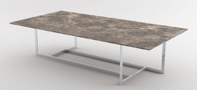 Casa Padrino luxury coffee table silver / brown 160 x 80 x H. 40 cm - Modern rectangular living room table with marble top and stainless steel frame - Luxury Collection