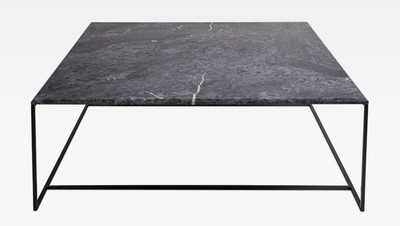 Casa Padrino luxury coffee table black / black 120 x 120 x H. 35 cm - Modern square living room table with Carrara marble top and stainless steel frame - Luxury living room furniture