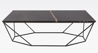 Casa Padrino luxury coffee table black / black 130 x 70 x H. 40 cm - Rectangular living room table with marble top and metal frame - Modern living room furniture