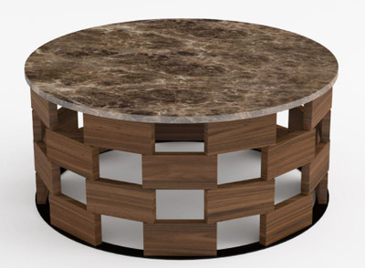 Casa Padrino luxury coffee table brown / black / brown Ø 92 x H. 40 cm - Round living room table with marble top - Living room furniture - Luxury Quality