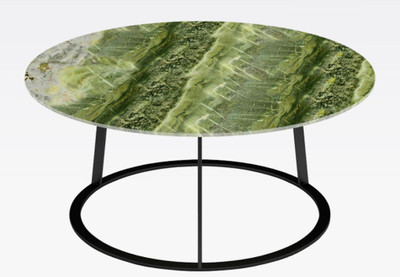 Casa Padrino luxury coffee table black / green Ø 77 x H. 40 cm - Round living room table with marble top - Living room furniture - Luxury Furniture