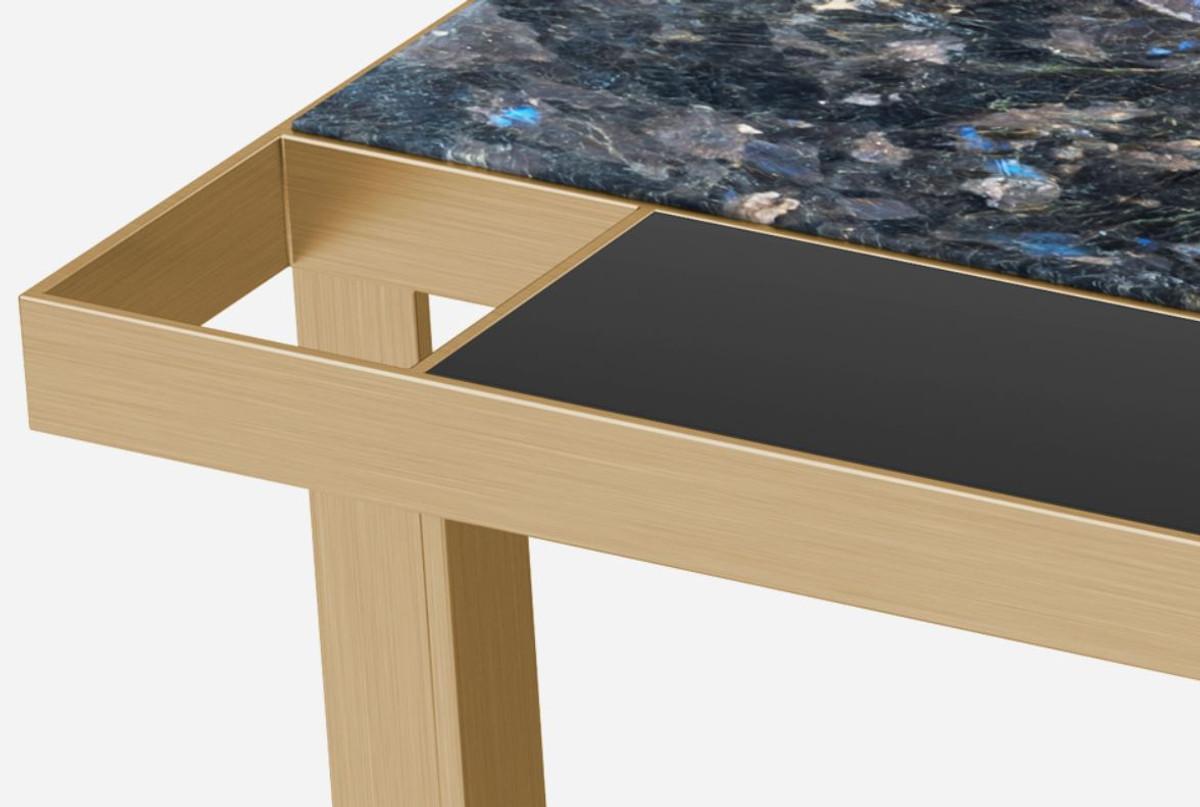 - Casa Padrino Luxury Coffee Table Brass / Blue-black / Black 93 X