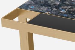 Casa Padrino luxury coffee table brass / blue-black / black 93 x 93 x H. 40 cm - Modern square living room table with granite top & glass top - Luxury living room furniture 2