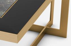 Casa Padrino luxury coffee table brass / blue-black / black 93 x 93 x H. 40 cm - Modern square living room table with granite top & glass top - Luxury living room furniture 3