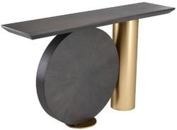 Casa Padrino Designer Konsole Mokka / Messing 150 x 36 x H. 86 cm - Eichenfurnier Konsolentisch mit Stahlbein - Designer Möbel - Luxus Qualität