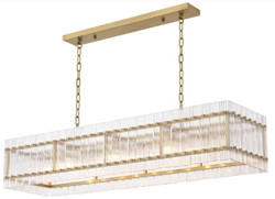 Casa Padrino luxury chandelier antique brass 140.5 x 39 x H. 27 cm - Rectangular Hotel & Restaurant Chandelier - Luxury Collection