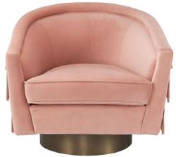 Casa Padrino luxury swivel armchair pink / matt gold 84 x 82 x H. 74 cm - Living room armchair with fine velvet - Luxury living room furniture