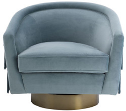 Casa Padrino luxury swivel armchair blue / matt gold 84 x 82 x H. 74 cm - Living room armchair with fine velvet - Luxury living room furniture