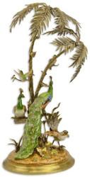 Casa Padrino Luxus Bronze Deko Palme mit exotischen Porzellan Vögeln Mehrfarbig / Gold 42 x 39 x H. 79,5 cm - Wohnzimmer Deko - Deko Accessoires