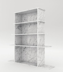 Casa Padrino luxury marble shelf cabinet white 100 x 32 x H. 140 cm - Carrara marble cabinet with 3 shelves - Bookcase - Living room cabinet - Office cabinet - Luxury marble furniture