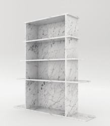 Casa Padrino Luxus Marmor Regalschrank Weiß 100 x 32 x H. 140 cm - Carrara Marmor Schrank mit 3 Regalen - Bücherschrank - Wohnzimmerschrank - Büroschrank - Luxus Marmor Möbel