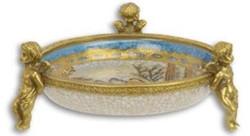 Casa Padrino Art Nouveau decorative bowl multicolor / gold Ø 13.5 x H. 5.4 cm - Round porcelain bowl with 3 decorative angel figures - Baroque & Art Nouveau Decoration Accessories