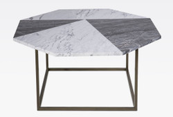 Casa Padrino luxury coffee table black / white 90 x 90 x H. 42 cm - Modern octagonal living room table with Carrara marble top - Living room furniture