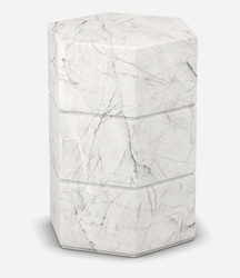 Casa Padrino luxury Carrara marble side table white 40 x 40 x H. 60 cm - Living room furniture - Marble Furniture - Luxury Quality