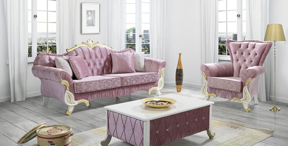 Casa Padrino Barock Wohnzimmer Set Rosa Weiss Gold 2 Sofas 2 Sessel 1 Couchtisch Wohnzimmer Mobel Im Barockstil Edle Barock Mobel