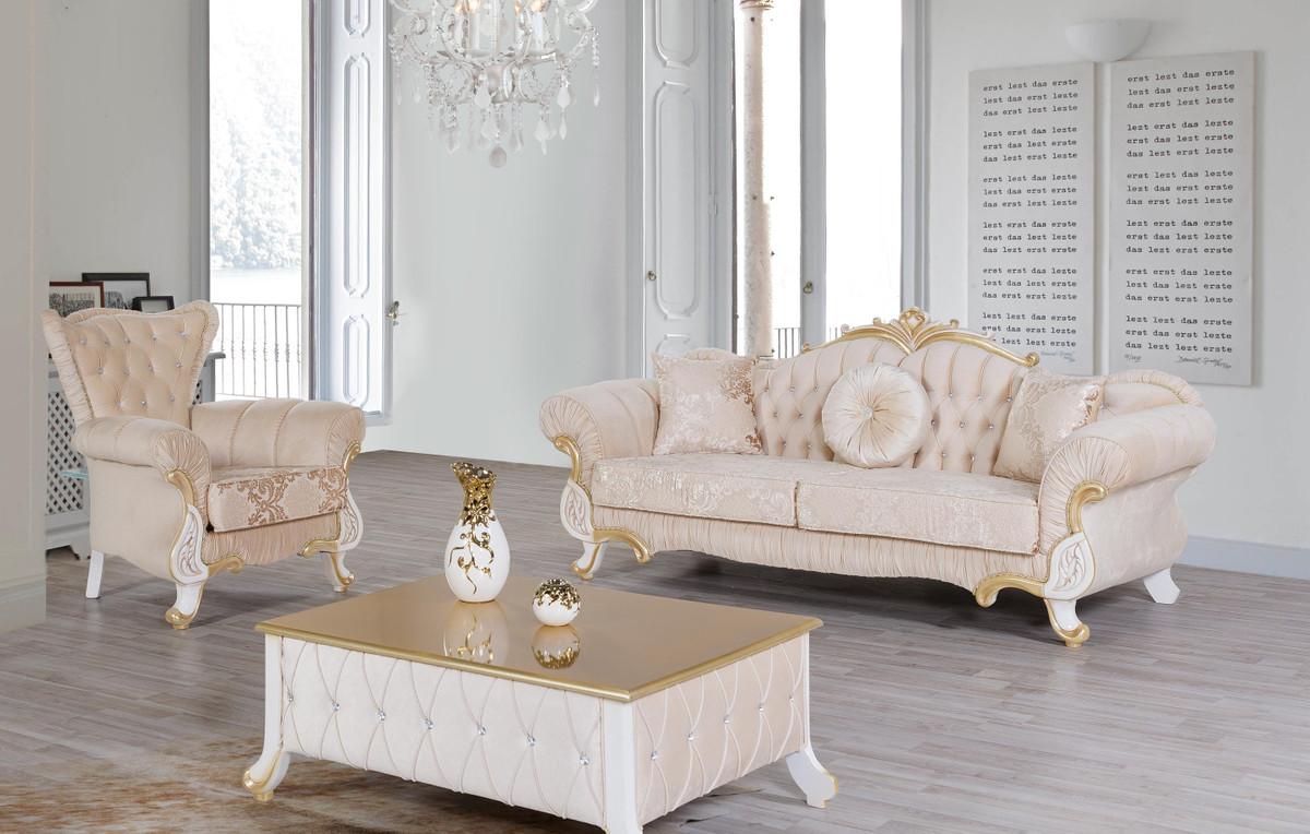 Casa Padrino Barock Wohnzimmer Set Beige / Weiß / Gold - 100 Sofas & 100 Sessel  & 10 Couchtisch - Wohnzimmer Möbel im Barockstil - Edle Barock Möbel