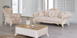 Casa Padrino baroque living room set beige / white / gold - 2 Sofas & 2 Armchairs & 1 Coffee Table - Living room furniture in baroque style - Noble Baroque Furniture