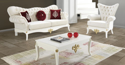 Casa Padrino baroque living room set cream / white / gold - 2 Sofas & 2 Armchairs & 1 Coffee Table - Noble living room furniture in baroque style