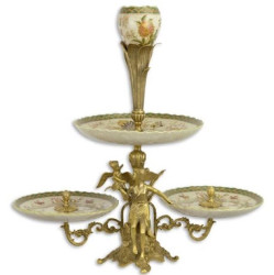 Casa Padrino Art Nouveau cake stand with flower design and decorative angel figures multicolor / brass 57 x 28.7 x H. 57.5 cm - Hotel & Restaurant Accessories