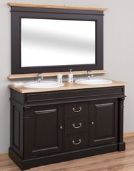 Casa Padrino Country Style Bathroom Set Black / Natural - 1 Double Washstand & 1 Wall Mirror - Solid Wood Bathroom Furniture in Country Style