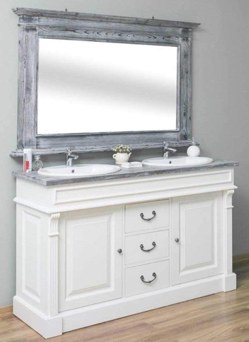Casa Padrino Landhausstil Badezimmer Set Weiß / Grau - 122 Doppelwaschtisch &  122 Wandspiegel - Massivholz Badezimmermöbel im Landhausstil