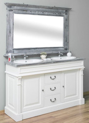 Casa Padrino Country Style Bathroom Set White / Gray - 1 Double Washstand & 1 Wall Mirror - Solid Wood Bathroom Furniture in Country Style