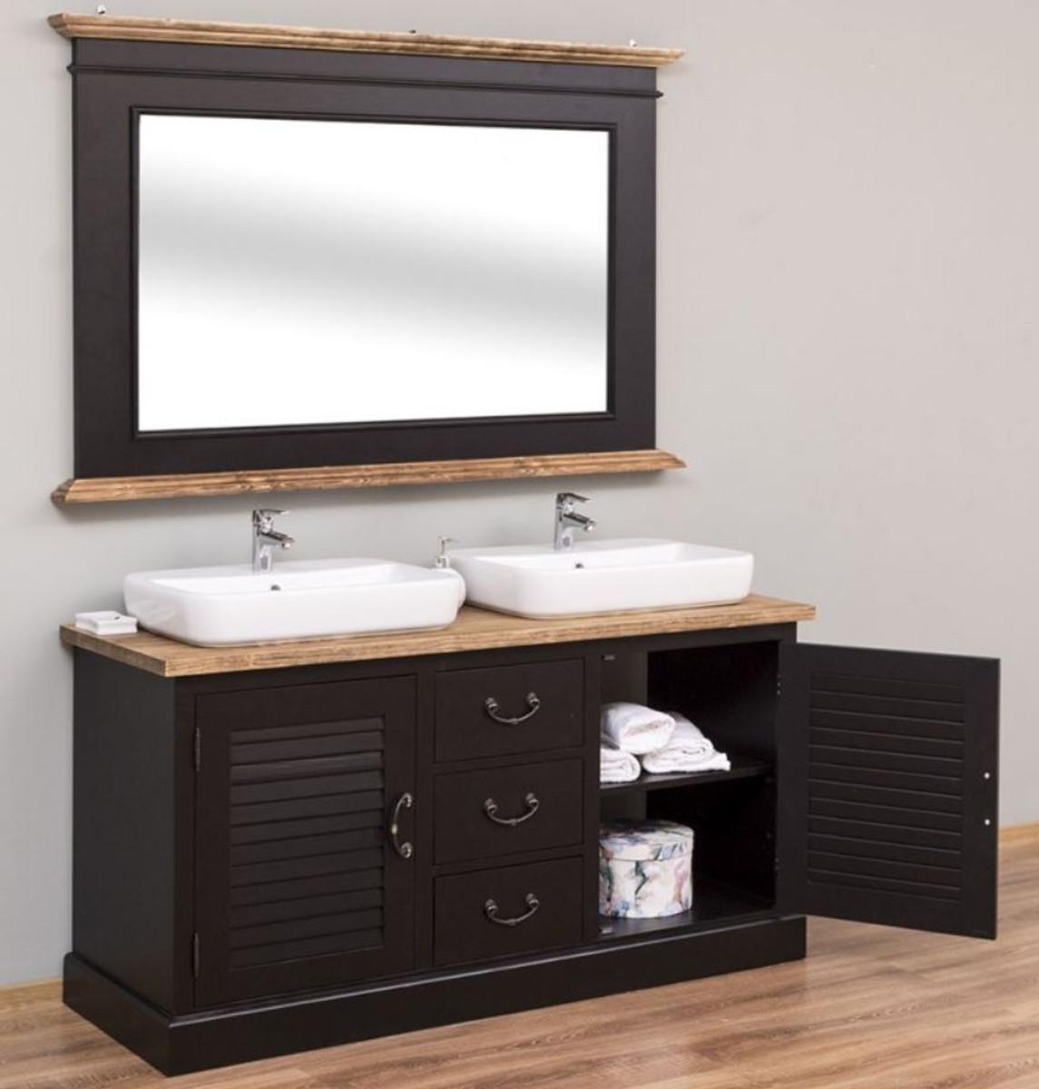 Casa Padrino Conjunto de Baño de Estilo Campestre Negro / Natural - 199  Gabinete del Fregadero Doble y 199 Espejo de Pared - Muebles de Baño Estilo
