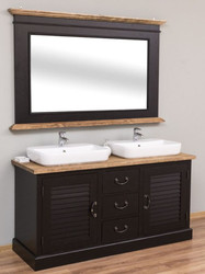 Casa Padrino Country Style Bathroom Set Black / Natural - 1 Double Washstand & 1 Wall Mirror - Country Style Bathroom Furniture