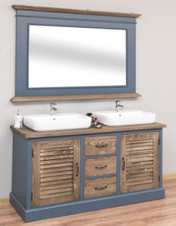 Casa Padrino Country Style Bathroom Set Blue / Brown - 1 Double Washstand & 1 Wall Mirror - Country Style Bathroom Furniture