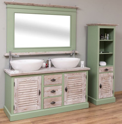 Casa Padrino Country Style Bathroom Set Green / Natural - 1 Double Washstand & 1 Wall Mirror & 1 Shelf Cabinet - Solid Wood Bathroom Furniture in Country Style